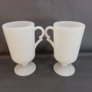 """Vintage Set 2 Footed Coffee Cups Milk Glass 4 1/2"""""""